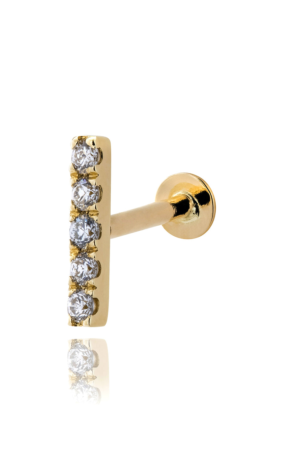 Modernist Diamond Linear Labret in 14K Gold