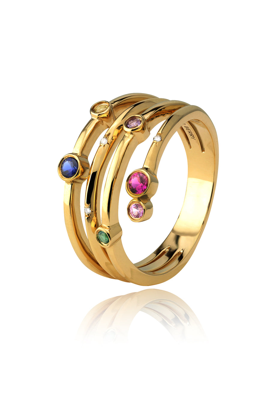 Nocturnal Multi-Coloured Wrap Ring