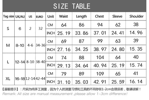 Women Dress Size Chart