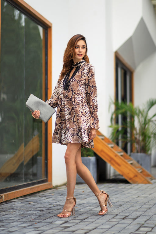 Leopard Lace Patchwork Flare Sleeve Women Dress - iSagax