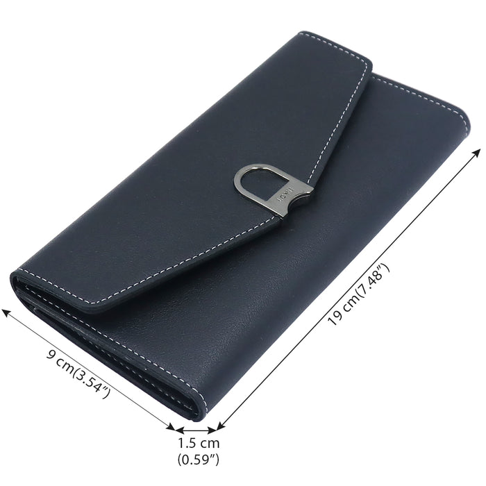 Soft PU Leather Purse/Wallet for Women with Slots, Zipped Pocket and ID Window inside - iSagax