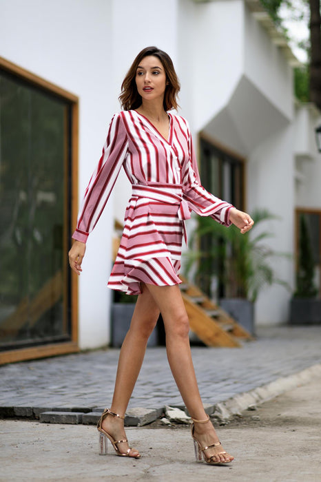 Casual Mini Striped V-Neck Long Sleeve Evening Dresses for Women - iSagax