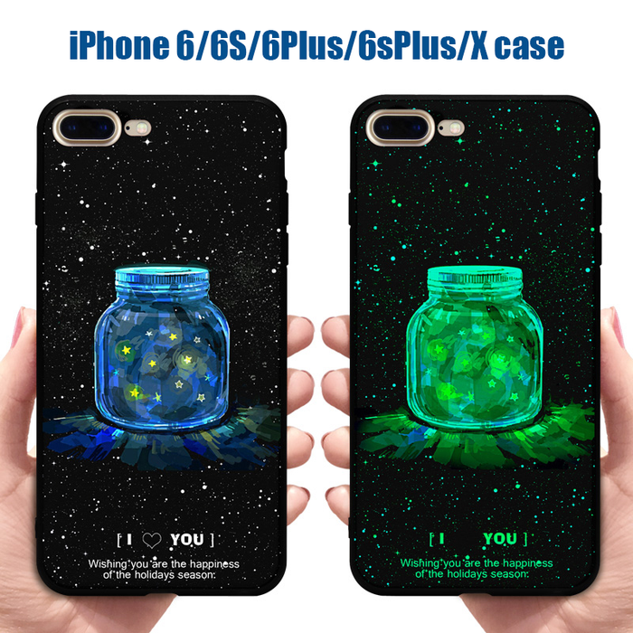iPhone Case for iPhone 6 6s Plus 6 Plus 6s Plus iPhone X Luminous & Noctilucent iPhone Case Glow in The Dark - iSagax