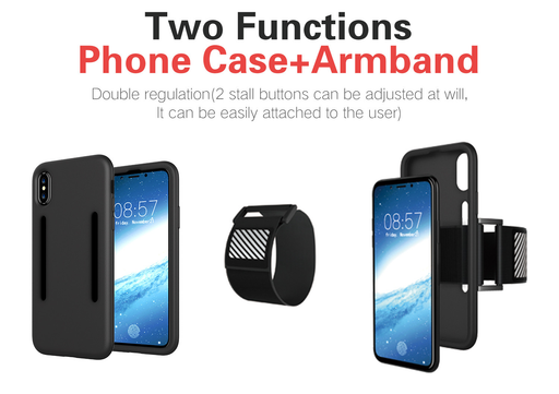 iPhone Case Silicone Case with Sports Armband for iPhone 7/7 Plus/iPhone X - iSagax