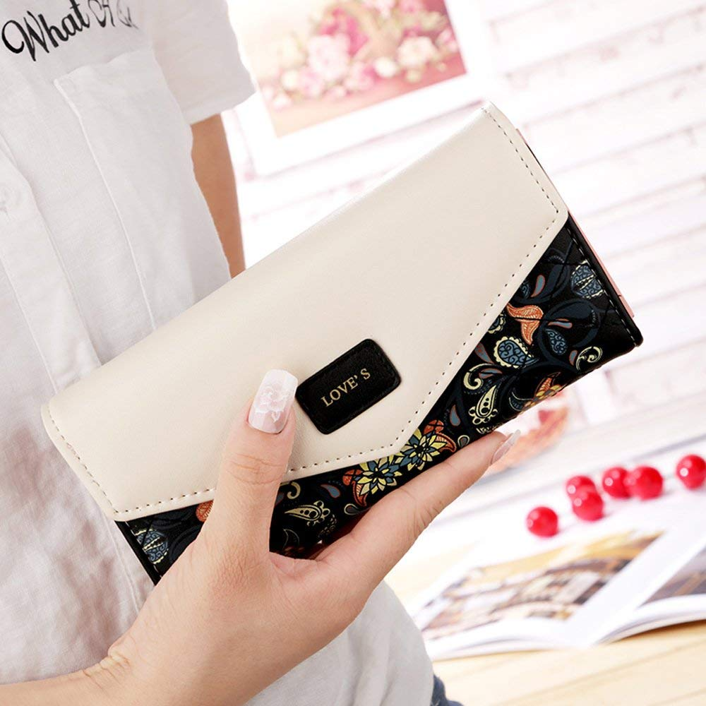 Women's Wallet Purses Multi Slots Ladies Purse with Zipper Pocket Bill Pocket and ID Window - iSagax
