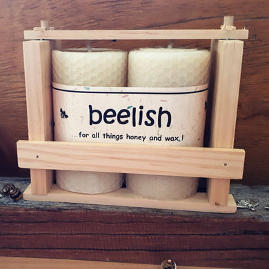 Beeswax Rolled Candle Gift Box with 2 candles