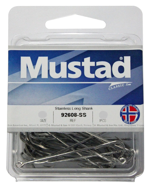 Mustad 92608SS Long Shank Stainless Steel Beak Hook Box