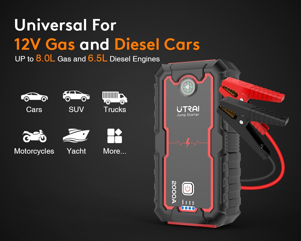 Car Jump Starter - 22000mAh 1000A Peak, 12V Auto Battery Booster with Quick Charge - Vaghetti Deals Store