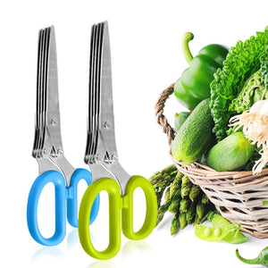 """Vaghetti""Herb Scissors with 5 Blades and Cover - Cool Kitchen Gadgets - Cutter, Chopper and Mincer - Vaghetti Deals Store"