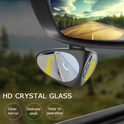 Car Blind Spot Mirror 2 in 1 , Automotive 360 Rotate Adjustable Stick-on Front/Rear View Mirrors for Traffic Safety
