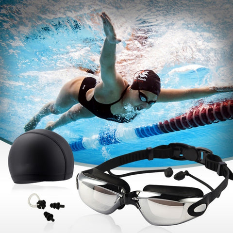 5 in 1 Swimming Goggles Set (Swim Cap + Nose Clip + Ear Plugs + Case+Swimming Goggles) - Vaghetti Deals Store