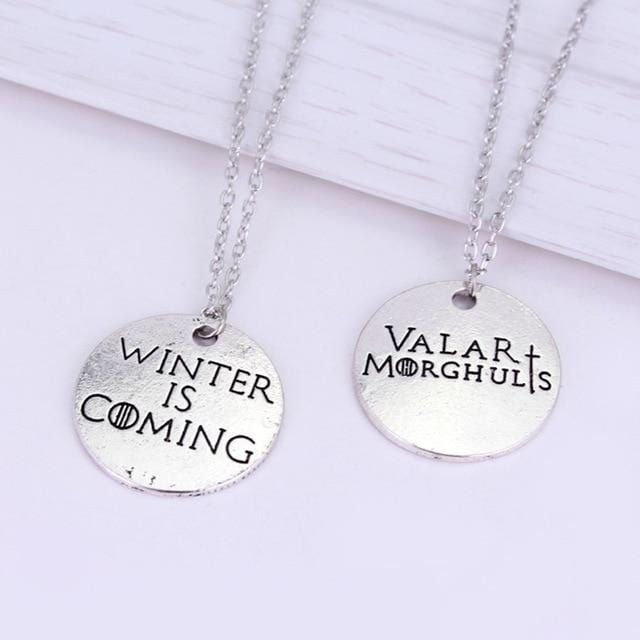 "Stark Winter is Coming Reversible Pendant Necklace ""Games of Thrones"" - Vaghetti Deals Store"