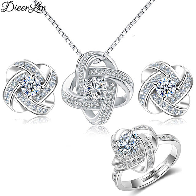 Bridal Jewelry Set for Women - Crystal Cubic Zirconia Love Knot Necklace Stud Earrings Elegant Ring - Vaghetti Deals Store