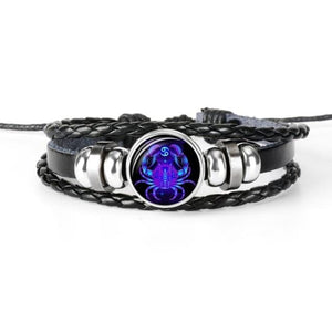 Jewelry Leather Bracelet 12 Constellation of Zodiac - Vaghetti Deals Store
