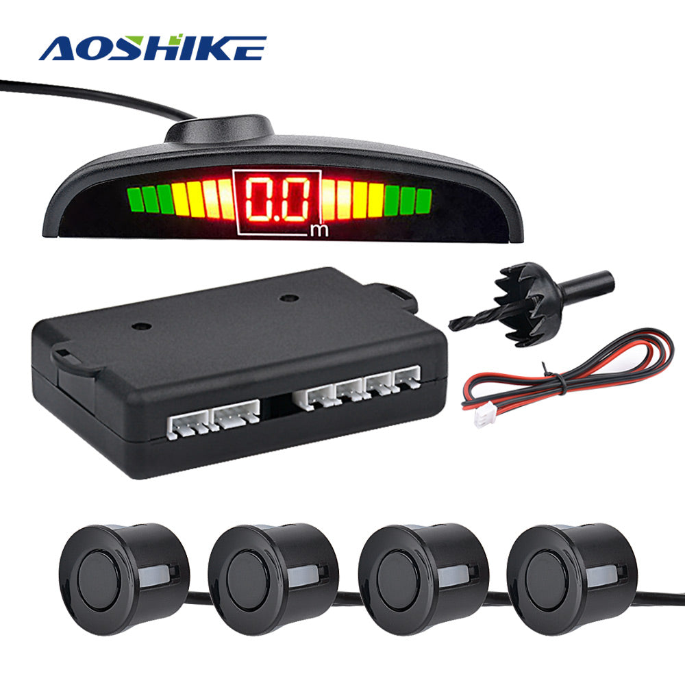 Auto Parktronic Reverse Sensor LED With 4 Sensors Buzzing Parking Distance Control Car Parking Radar Monitor Detector System - Vaghetti Deals Store