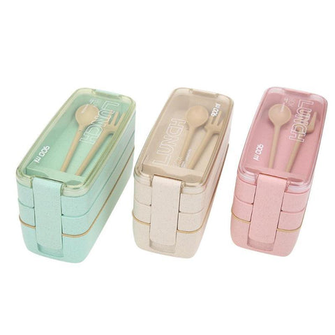 Layer Lunch Box Set of 3 Units 900ml for Food Storage with Fork&Spoon - Vaghetti Deals Store