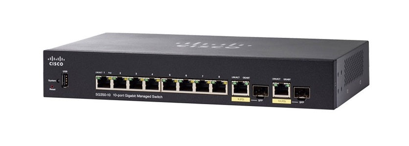 SG350-10P-K9-NA - Cisco Small Business SG350-10P Managed Switch, 8 Gigabit Ehternet and 2 Gigabit SFP Combo Ports, 62w PoE - New