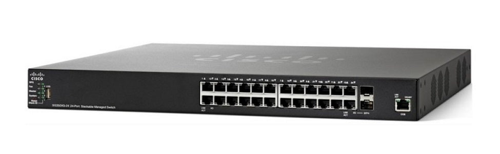 SG350X-24MP-K9-NA - Cisco SG350X-24MP Stackable Managed Switch, 24 Gigabit PoE+ with 2 10Gig/10Gig SFP+ Combo and 2 SFP+ Ports, 382w PoE - Refurb'd