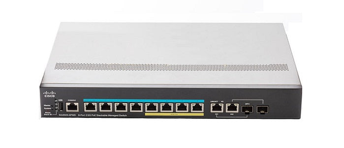 SG350X-8PMD-K9-NA - Cisco SG350X-8PMD Stackable Managed Switch, 8 2.5G PoE+ and 2 10Gig/10Gig SFP+ Combo Ports, 240w PoE - Refurb'd