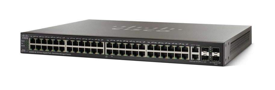 SG500-52MP-K9-NA - Cisco SG500-52MP Stackable Managed Switch, 48 Gigabit PoE+ and 4 Gigabit Ethernet Ports, 740w PoE - New