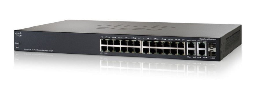SRW2024-K9-NA - Cisco Small Business SG300-28 Managed Switch, 26 Gigabit/2 Combo Mini GBIC Ports - New