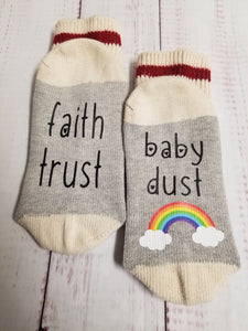 Faith trust baby dust rainbow, Lucky Socks, Rainbow Baby, fertility socks - My Other Child