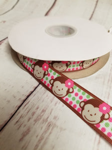 Cute Monkey Ribbon, grosgrain ribbon, hair bows,  crafting - My Other Child