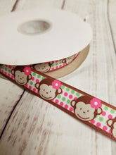 Load image into Gallery viewer, Cute Monkey Ribbon, grosgrain ribbon, hair bows,  crafting - My Other Child