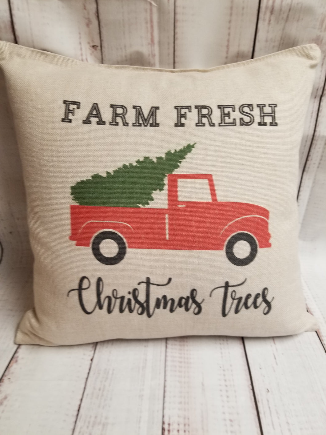 Christmas Pillow - Farm little red truck - My Other Child