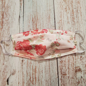 Adult Size Face Mask - White with Pink Floral - adjustable ears/ removable wired nose/filter opening - My Other Child