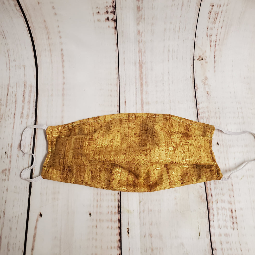 Adult Size Face Mask - Cork Gold Flecks - wired nose/filter opening
