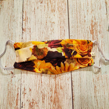 Load image into Gallery viewer, Adult Size Face Mask - Fall Floral -adjustable ears /removable wired nose/filter opening