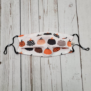 Adult Size Face Mask - black and Orange mixed Pumpkins -adjustable ears /removable wired nose/filter opening