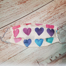Load image into Gallery viewer, Adult Size Face Mask - rainbow hearts -filter opening /adjustable ears/removable wired nose