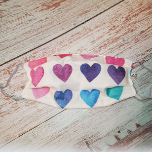 Adult Size Face Mask - rainbow hearts -filter opening /adjustable ears/removable wired nose