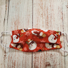 Load image into Gallery viewer, Christmas Kid Face Mask - Snowman on Red - adjustable ears/removable nose pc