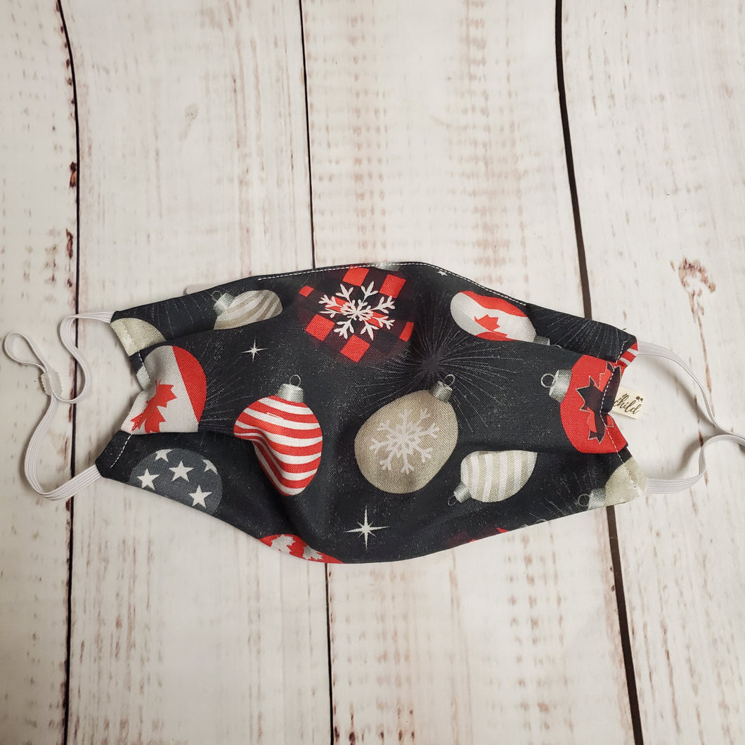 Christmas Adult Size Face Mask - Canadian Ornaments -adjustable ears/ filter opening/removable wired nose