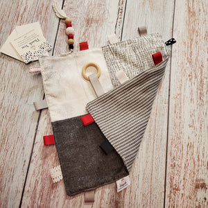 Sensory Blankies | Little Digits | trees and houses grey background