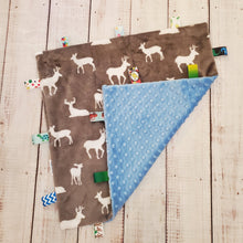 Load image into Gallery viewer, Mini Taggy Blanket | Grey Deer / Soft Blue Minky