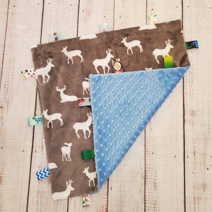 Mini Taggy Blanket | Grey Deer / Soft Blue Minky