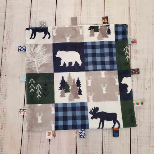Mini Taggy Blanket | Wildlife Patchwork / Grey Minky