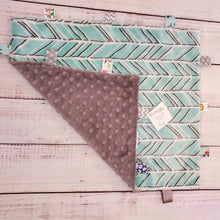 Load image into Gallery viewer, Mini Taggy Blanket | Teal Chevron / Grey Minky