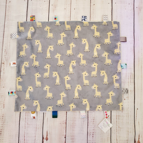 Mini Taggy Blanket | Giraffe / Grey Minky