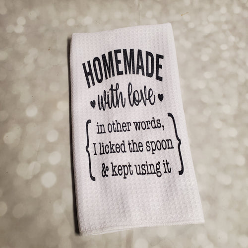 Home made aka Licked the Spoon | Funny teatowel, kitchen towel, punny