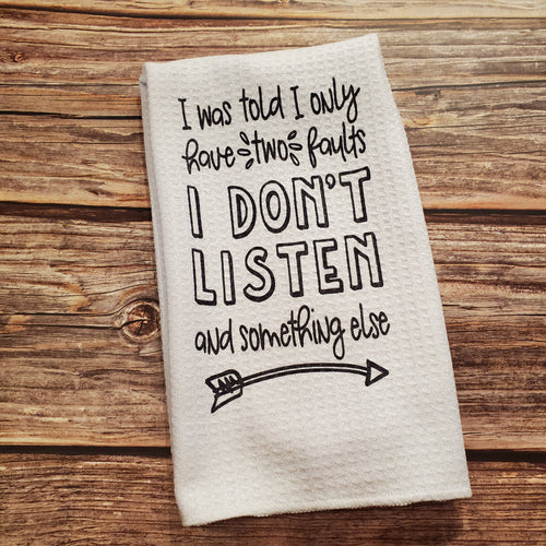 Two faults | Funny teatowel, kitchen towel, punny