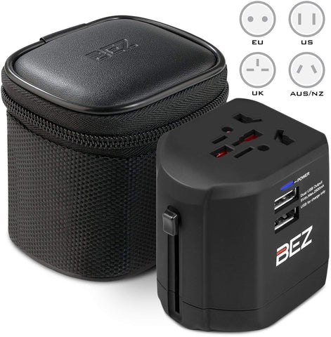 Worldwide Travel Adapter, the best International Plug [US UK EU AU] with Dual USB Charging Ports [Dual USB Power Rating: 5V/2500mA] and Universal AC Socket, Safety Fused
