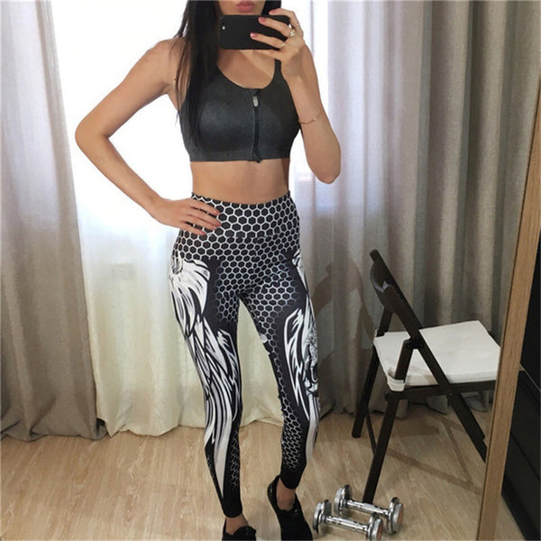 Women High Waist Honeycomb Skull Fitness Solid Color Sexy Fashion Print Wings Polyester Chrleisure Legging