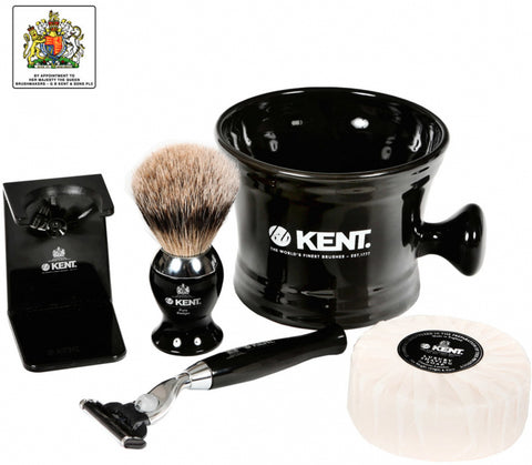 Kent Luxury Silver Tip Badger Shaving Set