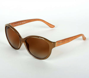 Salvatore Ferragamo Turtle and Burnt Wood Sunglasses with Brown Lenses
