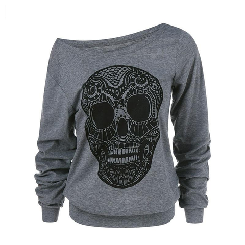 Women Plus Size Skull Print Letter Print Skew Collar Hoodies Over-sized  Hooded Loose Pull Pullover Sweatshirts